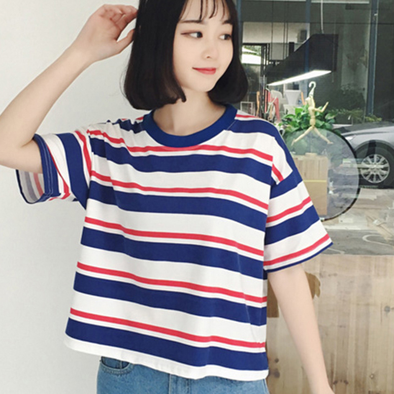 2017 Summer Clothes for Women Harajuku BF Black and White Striped T-shirts Loose Short Sleeve Female T-shirt Tops Girls S TO XL