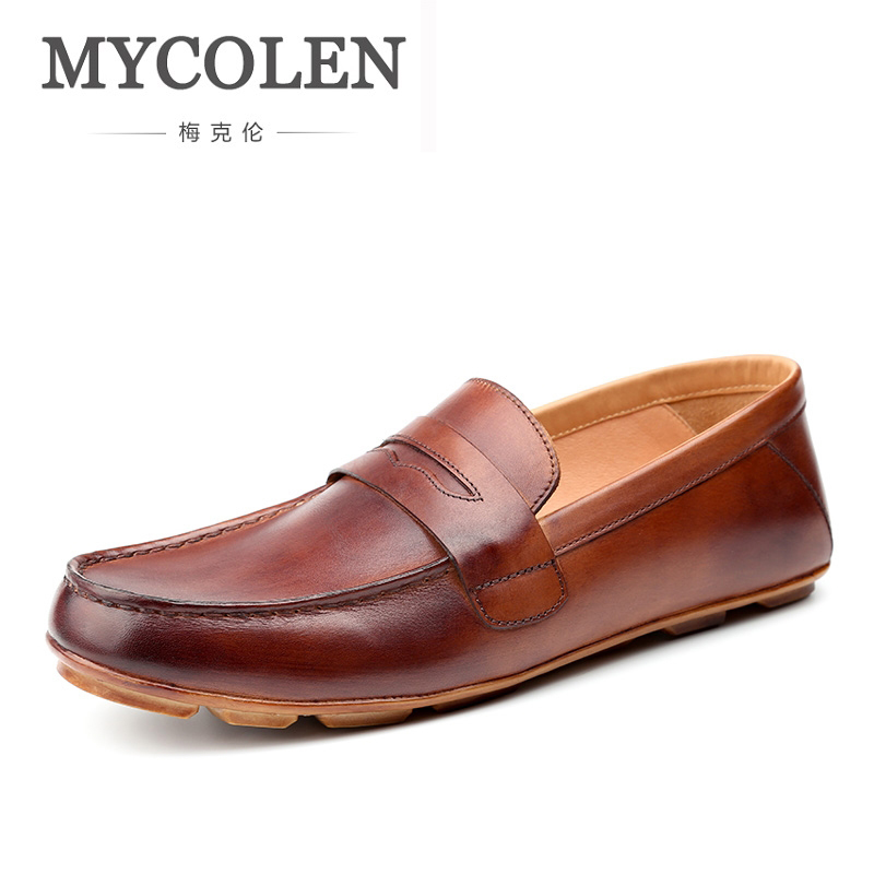MYCOLEN New Men Shoes Leather Men'S Casual Shoes Handmade Luxurious Comfortable Breathable Spring/Autumn Fashion Men Loafers mycolen 2018 new spring autumn classic men casual shoes comfortable flat shoes fashion breathable wear resistant shoes