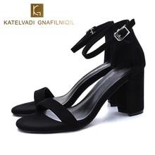 KATELVADI Shoes Women Black Gladiator Sandals Women Summer Sandals Ankle Strap 8CM High Heels Female Shoes Sandals Women K-317