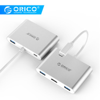 ORICO USB C HUB For Laptop PD Charging Function Aluminum Ally Type C to HDMI/VGA/USB3.0/RJ45/SD TF Card Reader 7 Models Silver