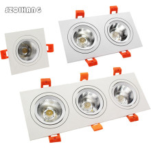 Square 1-2-3-Heads LED COB Downlight 10W 20W 30W  LED Recessed Ceiling Down Light LED COB Spot Light Dimmable LED Downlight three heads grille light fixture square ceiling downlight cups for gu10 mr16 gu5 3 spot lamps halogen mr11 holder white aluminum