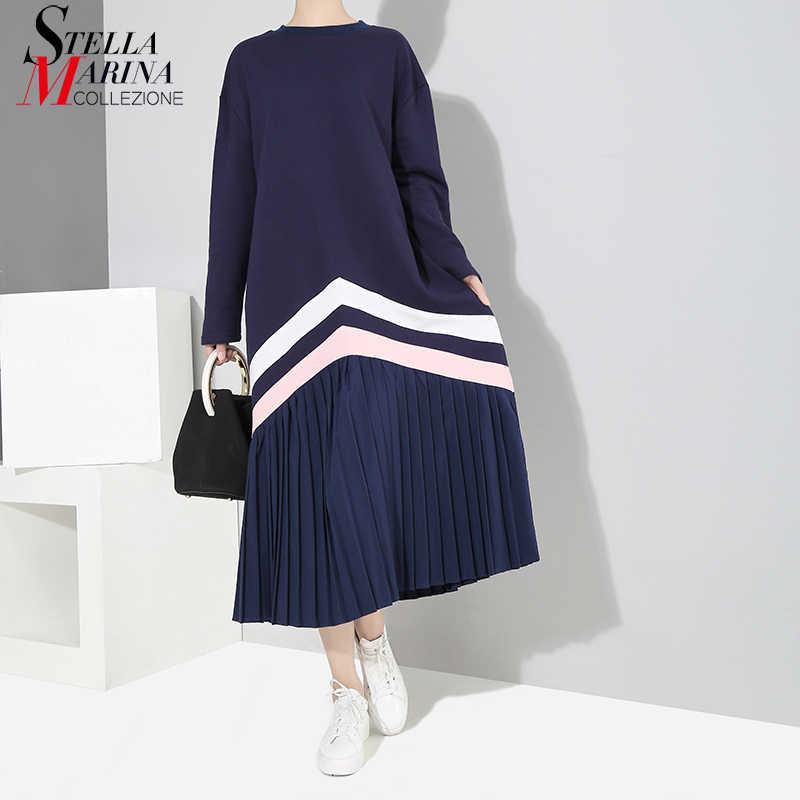 2018 Women Winter Long Blue Black Striped Pleated Dress Long Sleeve Female  Casual Wear Plus Size effe7fcc9aee