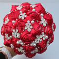 New Arrival Good Quality Wine Color Bridal Bouquet Brooch Wedding Bouquet with Diamond Flower Silk Rose Artificial Flowers