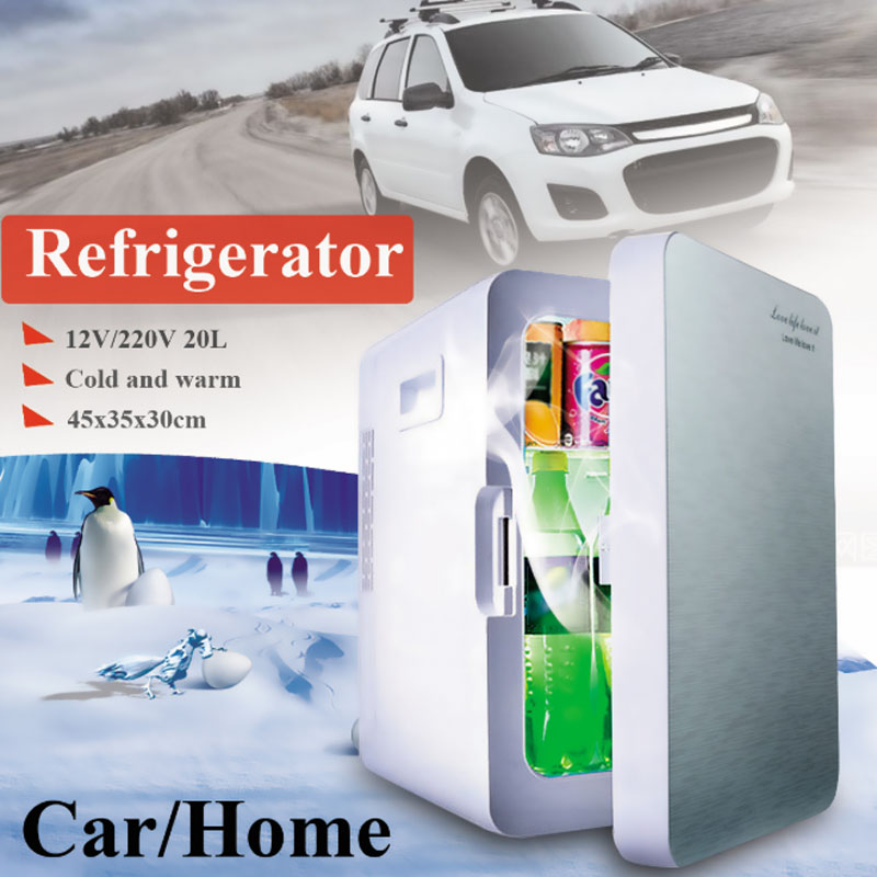 Kroak Mini 20L Car Home Use Mini Refrigerator Cooler Warmer Dual-use Fridge Box Temperature Control 12V/220V Dormitory(China)