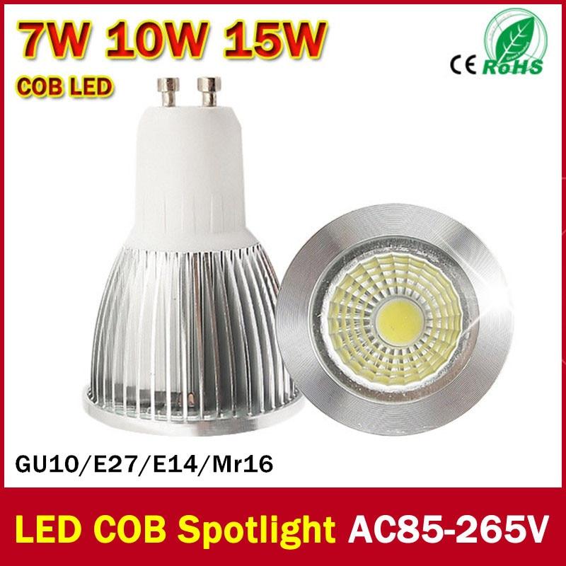 100% Authentic Ultra Bright 7W 10W 15W GU10 MR16 E14 E27 LED Bulb Light 110V 220V dimmable Led Spotlight Warm/Cool White