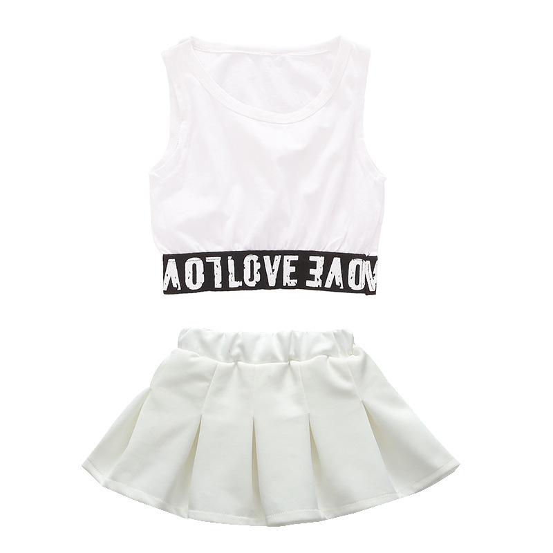 Lovely Casual two Piece Kids Crop Top Skirt Set For Girls 4 6 8 10 11 12 13 14 15 16 Years Teenage Girls Summer Clothes in Clothing Sets from Mother Kids