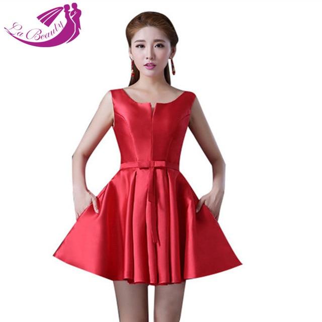 Satén rojo vestidos fiesta Mini cóctel Vestido De fiesta Vestido De Festa Curto plisado cucharada De