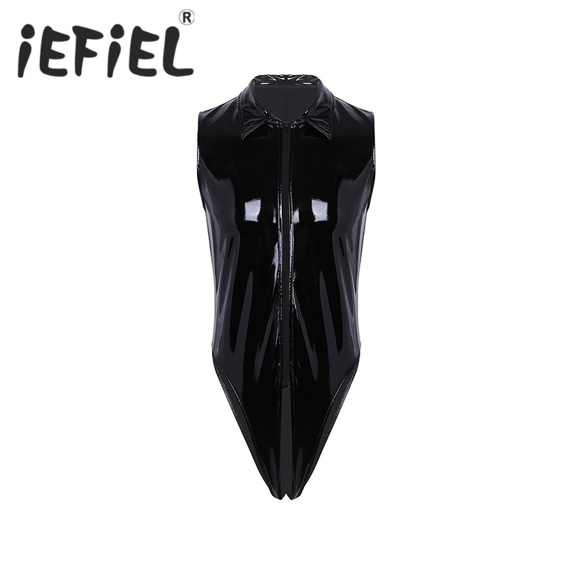 Fashion Male Mens One-Piece Wet Look Faux Leather Sleeveless Cut Out Crotch High Cut Jumpsuit Bodysuit Lingerie Nightwear Thongs