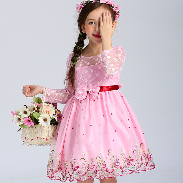 f129c4a7a1 YNB-Children-s-Long-Sleeve-Flower-Girl-Dresses-for-Girls-Cute -Knee-Length-Pink-Girl-Dress.jpg 640x640.jpg