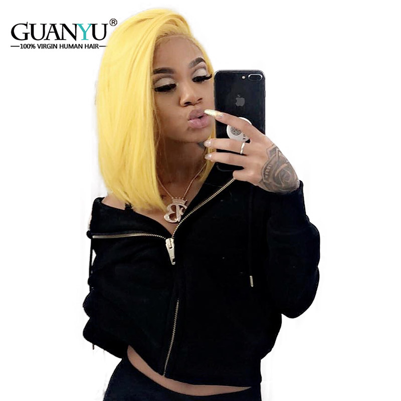 Guanyuhair Pre plucked Yellow Bob Malaysia Remy Human Hair Lace Front Wigs Straight 150 Density Free