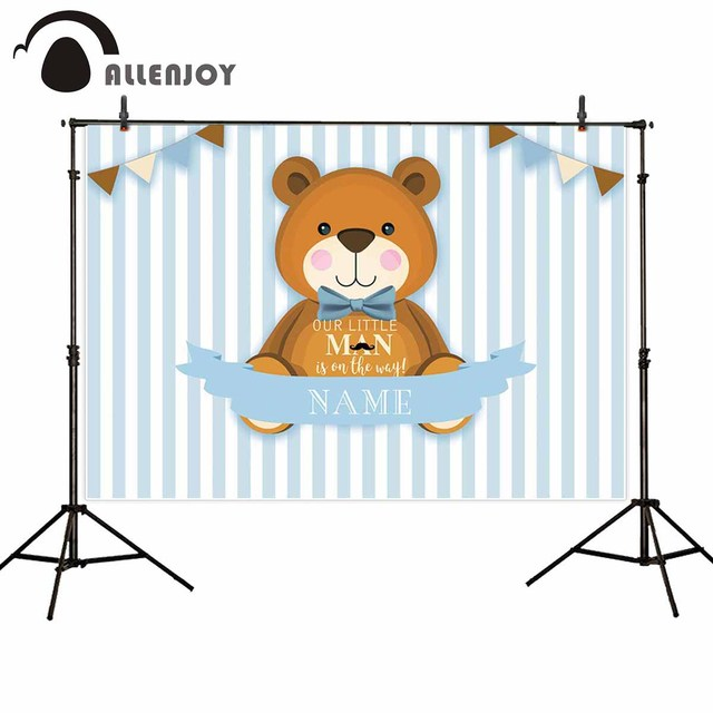 Allenjoy little man party photography backdrops bear tie flag stripe birthday background for photo boy photophone photocall new