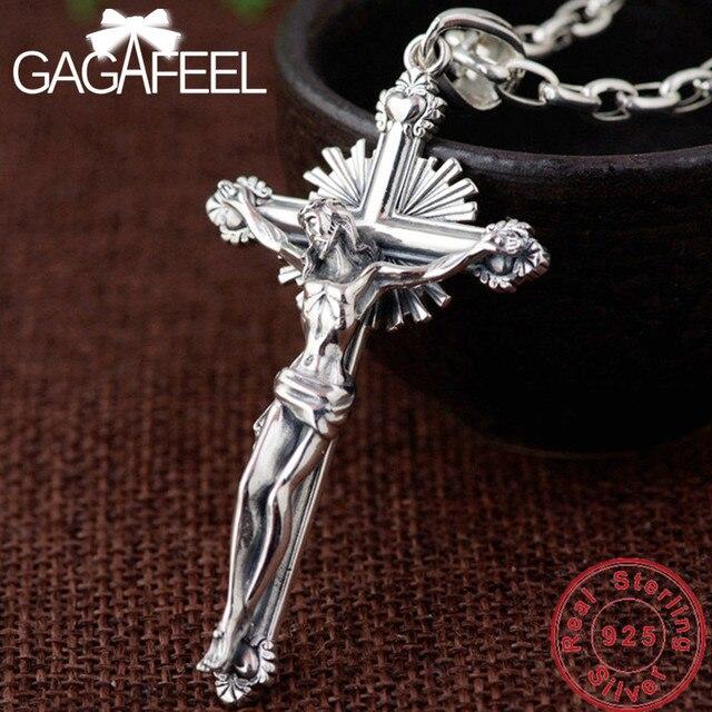GAGAFEEL collar de plata de ley 925 con Cruz colgante, joyería de moda, para hombres y mujeres