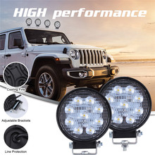 2x arabalar için LED lambalar LED çalışma ışığı bakla 4 inç 90W yuvarlak nokta işın Offroad sürüş ışık çubuğu luces Led Para otomatik