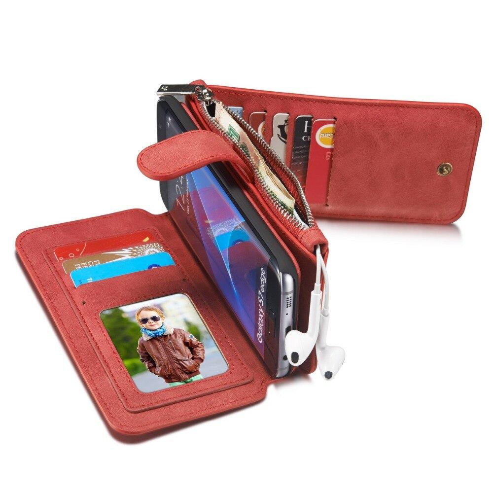 Цена за Ретро кожаный бумажник флип чехол для телефона для Sansung Galaxy S6 S7 S6plus край телефона магнит задняя крышка съемная с карты Holde