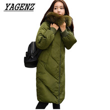 Large size 5XL Winter Women Jacket Hooded Coats Loose Down cotton Thick Long Coat Raccoon Fur collar Casual Warm Female Jackets