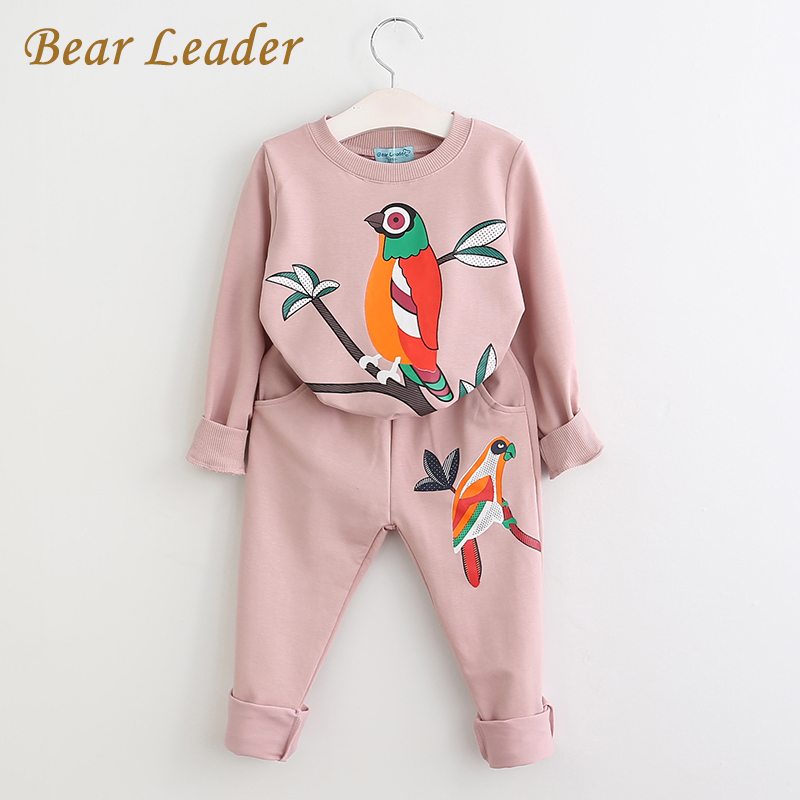 Bear Leader Clothing Sets 2018 New Autumn Active Boys Girls Clothing Sets Children Clothing Cartoon Print Sweatshirts+Pants Suit