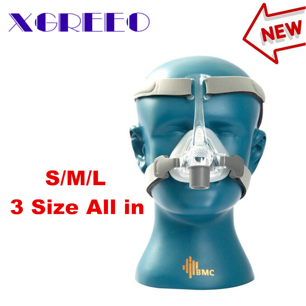 BMC XGREEO NM4 Nasal Mask With Headgear and SML 3 Size Silicon Gel Cushion For CPAP&Auto CPAP Sleep Snoring Apnea Health&Beauty new cpap headgear replacement fit for respironics comfort gel nasal mask head band