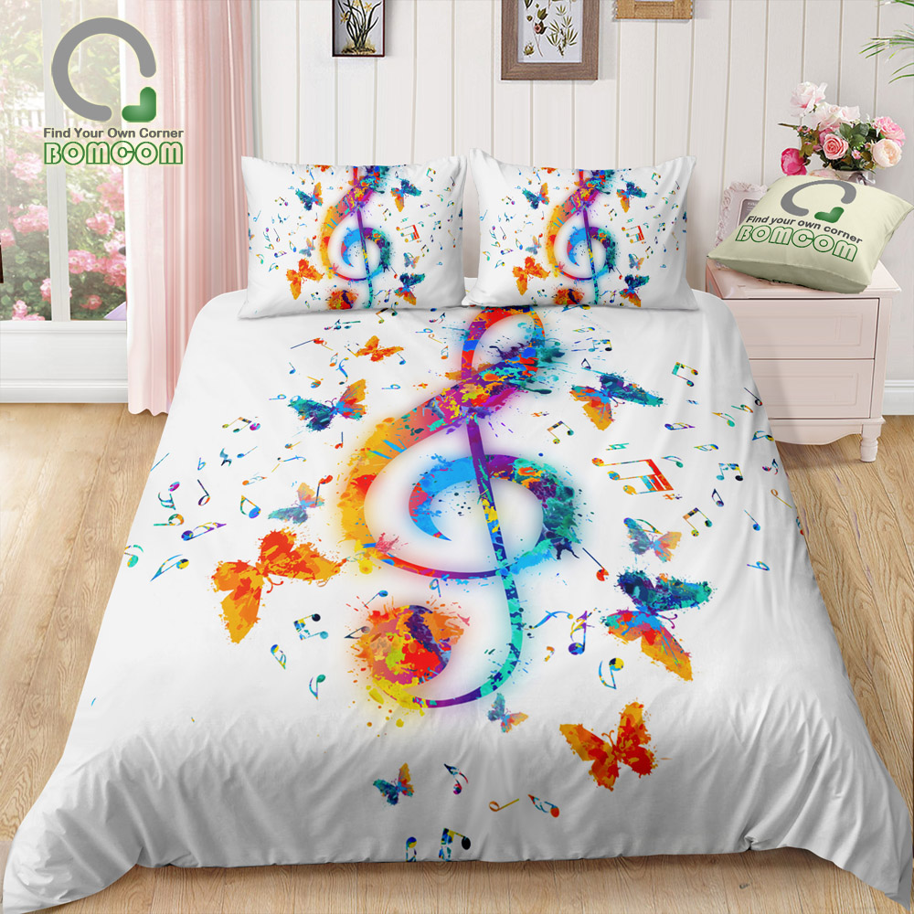 Bomcom 3d Digital Printing Bedding Set Colorful Music Note Butterfly 3 Pieces Duvet Cover Sets 100 Microfiber Bedding Sets Aliexpress