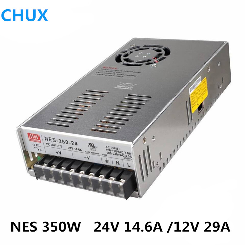 NES-350W Original MEAN WELL AC to DC single output 350W 29A 12V 24V Meanwell Switching Power Supply NES-350 laser cutting marking engraving machine diy parts meanwell mw nes 350 24 350w 24v power supply switching switch power supply
