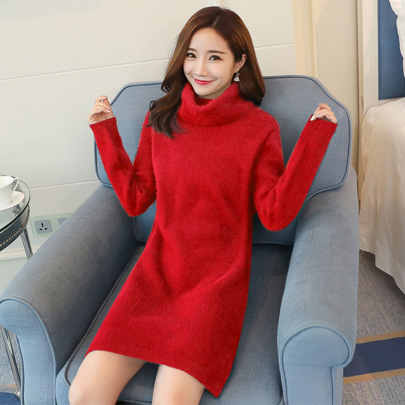 9dbb98a534 ... Fashion Plus Size 3XL Turtleneck Sweater Dresses Women Casual Long  Sleeve Knitted Dress Pullovers Slim Elastic ...
