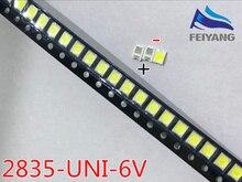 Оригинальные Светодиодные шарики UNI, 1000 шт./лот, 3528, 2835, 1210, высокая мощность, 1 Вт, 6 в, холодный белый цвет, для LED ЖК телевизоров, подсветка, аппликатор