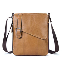 Genuine Leather Men Messenger Bags Cow Leather Casual Sling Shoulder Crossbody Bags Male Black Brown Flap