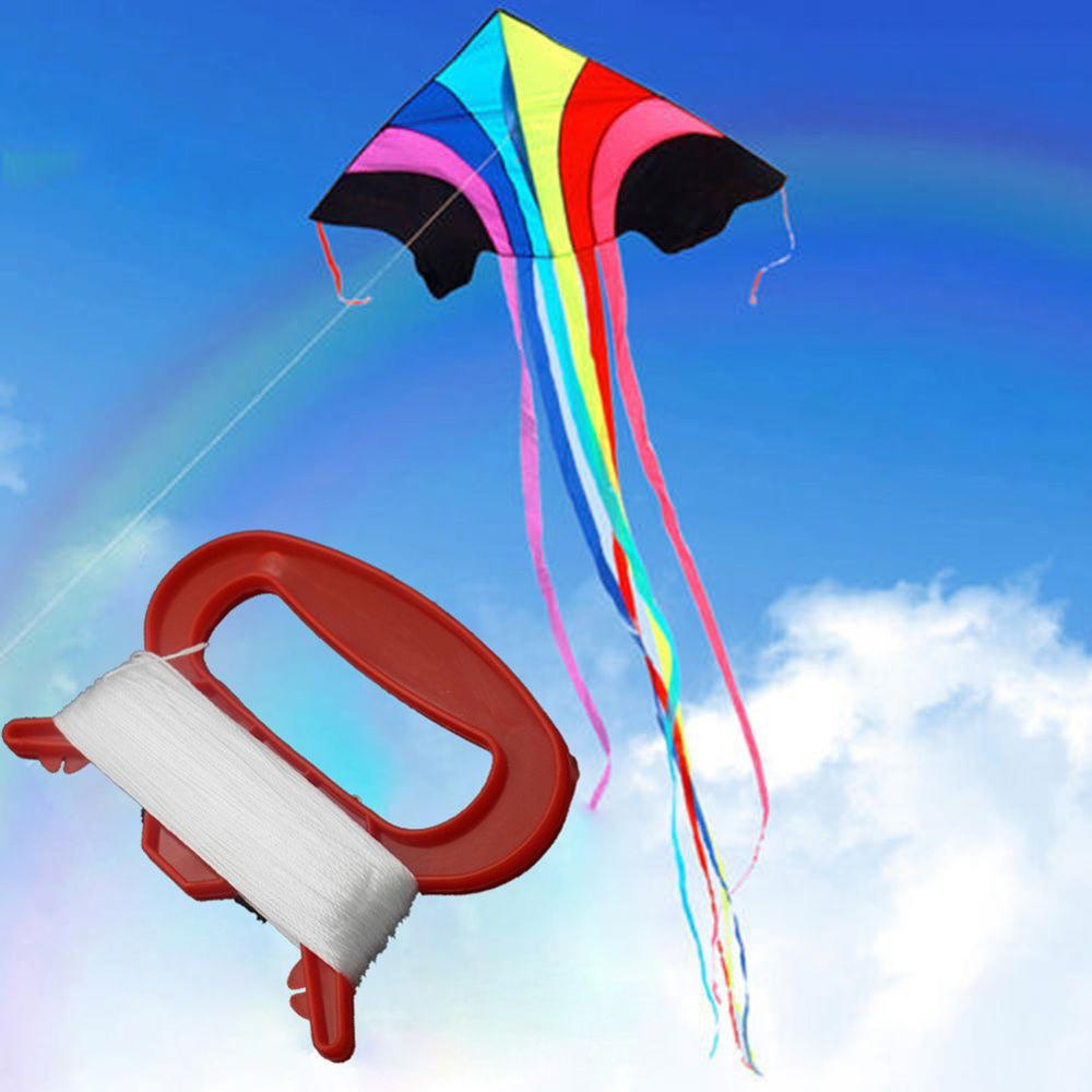 100m Outdoor Sports Fly Kite Line String with D Shape Winder Board Tool Kit Kites Line Fly Accessories image