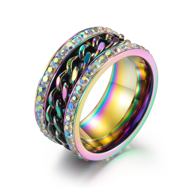 Rainbow Jewelry Ring Stainless Steel Chain with Zirconia Stone Ring for Men Multicolor Black Gold Color Punk Party Ring|Rings|   - AliExpress