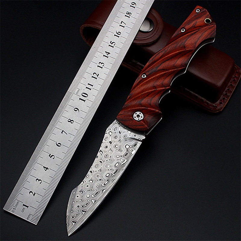 2018 New Free Shipping Sweden Powder Outdoor Damascus Steel Hunting Knife Self defense Gift Collection Red Wood Folding Knives