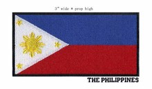 Philippines 3 wide embroidery flag patch free shipping for stripes/goods sewing/little yellow flowers