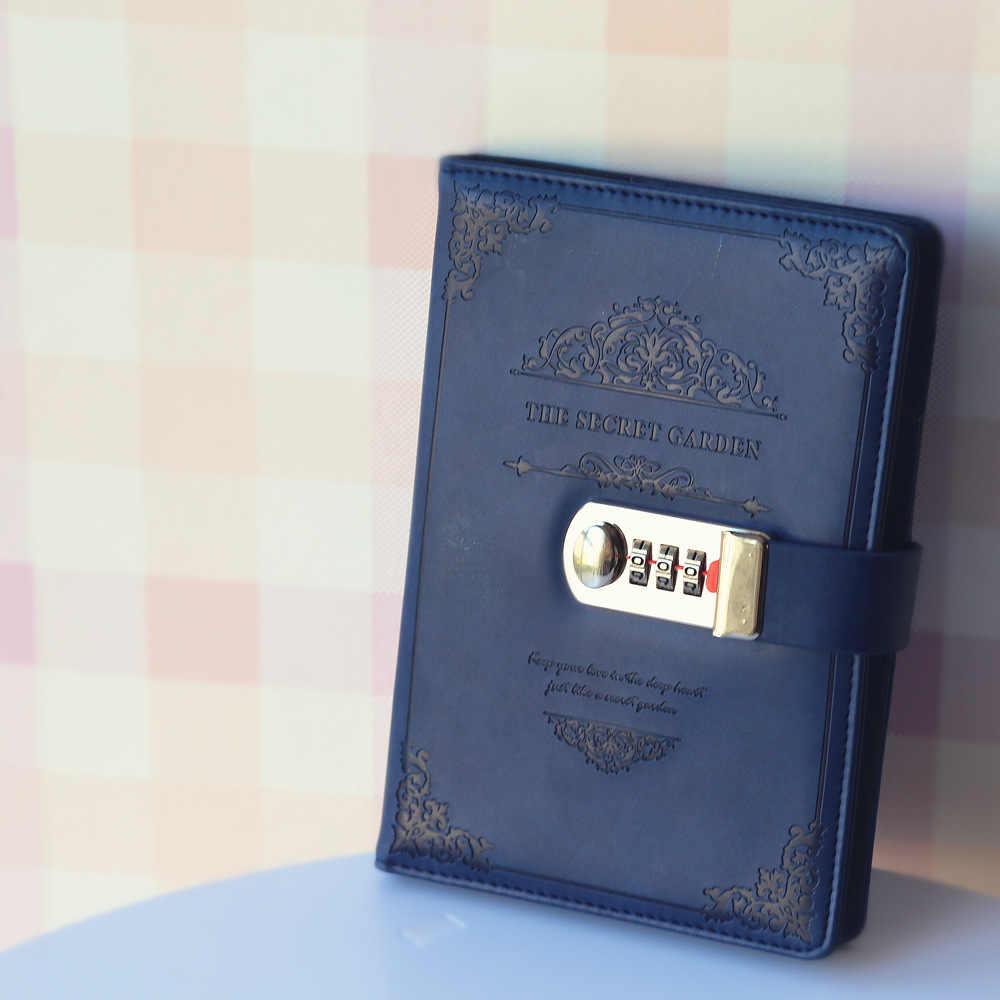 Cổ điển A5 Máy Tính Xách Tay Faux Leather Notepad Cá Nhân Tạp Chí Diary Memos Kế Hoạch Tổ Chức Thành Phần Lưu Ý Cuốn Sách Với Khóa Mật Khẩu