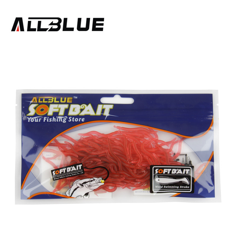ALLBLUE 100pcs Red Worm Lures 4cm /0.2g Soft Lure Bait Carp Fishing Lure Set Artificial Lure Fishing Tackle Earthworm 50pcs new wifreo soft lure loader locker connector fishing worm hook bait accessories for bass fishing wholesale