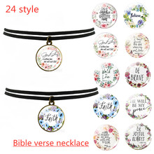 Black Clavicle Necklace Bible Verse Psalm Inspirational Faith Quotes Pendant Christian Jewelry Party Gift
