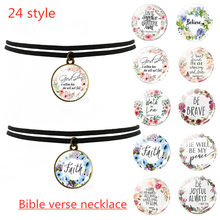 Black Clavicle Necklace Bible Verse Psalm Necklace Inspirational Faith Quotes Pendant Christian Jewelry Party Gift(China)