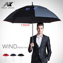 Długi uchwyt parasol golfowy mężczyźni wiatroszczelny duży duży parasol kobiety krem przeciwsłoneczny dwuwarstwowe półautomatyczne parasole męski biznes