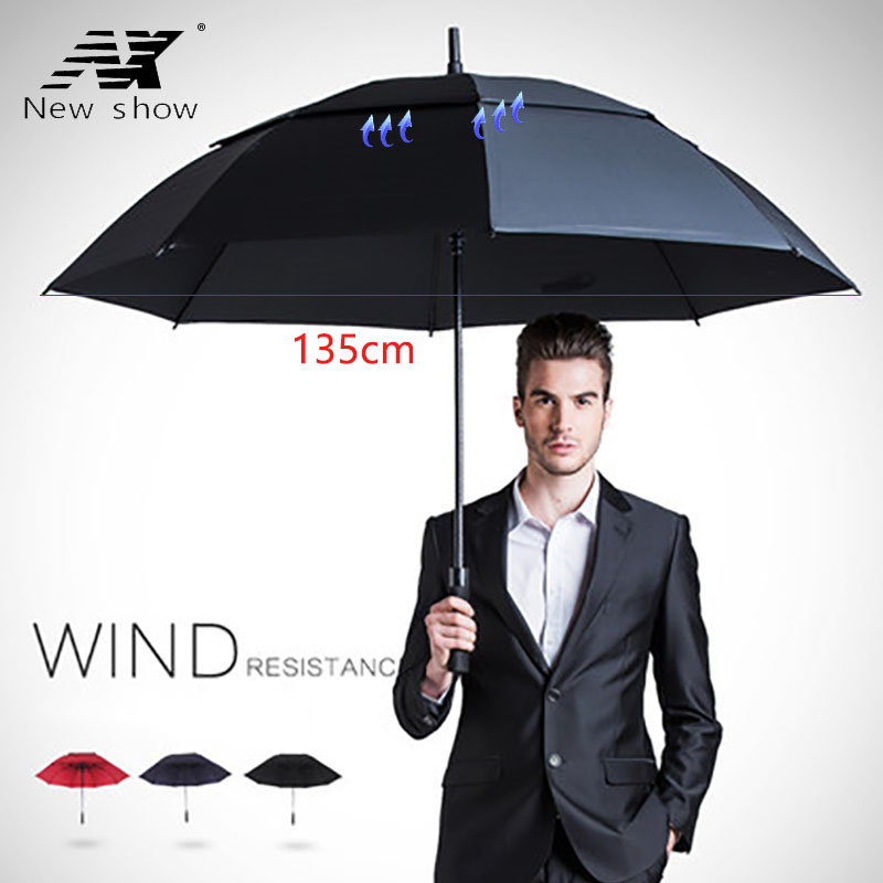 Long handle <font><b>Golf</b></font> <font><b>umbrella</b></font> men windproof <font><b>big</b></font> large <font><b>umbrella</b></font> women Sunscreen double layer semi-automatic <font><b>umbrellas</b></font> male business image