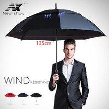 Paraguas de Golf largo con mango, paraguas grande a prueba de viento para hombre y mujer, paraguas semiautomático de doble capa con protección solar, para negocios y hombres