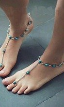 Bohemia Simple Silver Fashion Beach Anklet Inlay Natural Turquoise Foot Chain Bracelets &Bangles For Women Jewelry Free Shipping