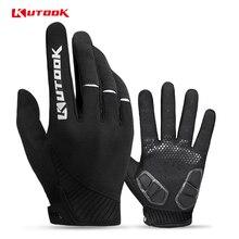 KUTOOK дышащий Велоспорт полный палец перчатки MTB противоскользящие Сенсорный экран велосипед перчатки противоударный горный велосипед перчатки для мужчин и женщин