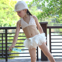 2017 Chic Zwaan Crème baby meisjes badmode Leuke boog bikini kids kant badpak met Cap strand zwemmen badpak Sequin bikini