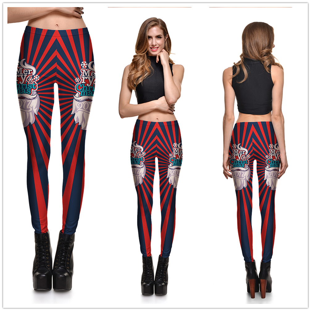 8 Great Styles, Women Sexy Merry Christmas leggings, Gradient Lanterns, Color Fantasy Printed 17