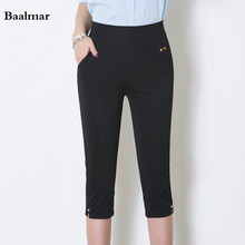 Baalmar Summer Women Pants Capris Plus Size Elastic Waist Skinny Casual Slim Pencil Pants 2017 Female Trousers Mom Pants
