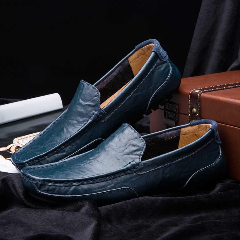 Mocasines hombres mocasines zapatos de conducción suaves zapatos casuales hombres planos hombres zapatos mocasines de cuero talla grande 46 hombre 2019 Slip en RMC-081
