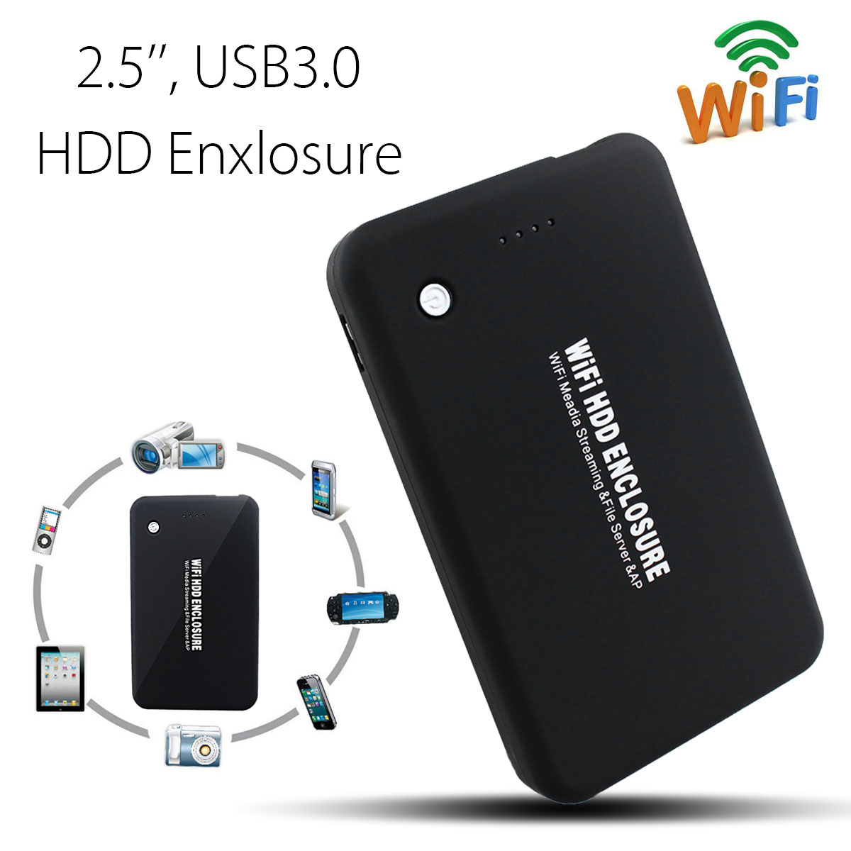 2.5 Inch HDD Case 300mbps Wifi Router External USB 3.0 5gbps Hard Disk Enclosure 4000mah Power Bank for 1TB HDD SSD