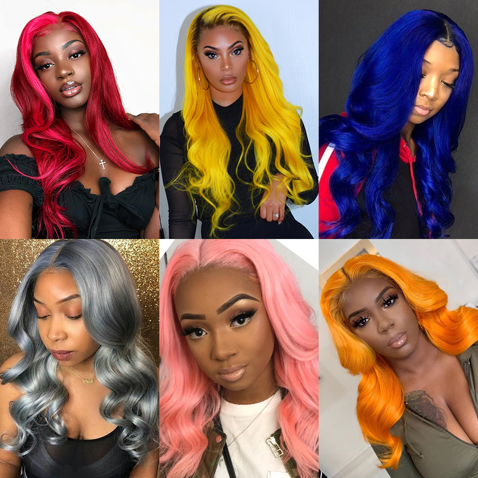 Full Pink Ombre Color Lace Front Human Hair Wigs With Baby Hair Brazilian Straight  Remy Hair Lace Wig Free Part Bleached Knots