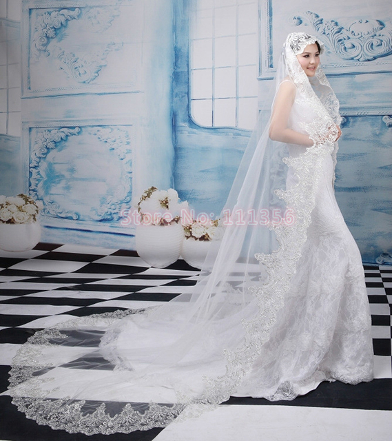 Luxury Bridal Veil  Alencon Lace Trim Sparkling Sequins Cheap Romantic Wedding Veils