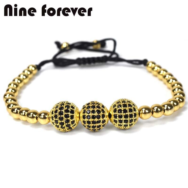 Nueve para siempre joyas de la Corona encantos hombres pareja pulsera Macrame pulseras de perlas para mujeres pulseira masculina pulseira femenina