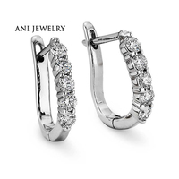 ANI 18k White Gold Women Circle Earrings 0 7 CT Certified I S1 Natural Diamond Brand