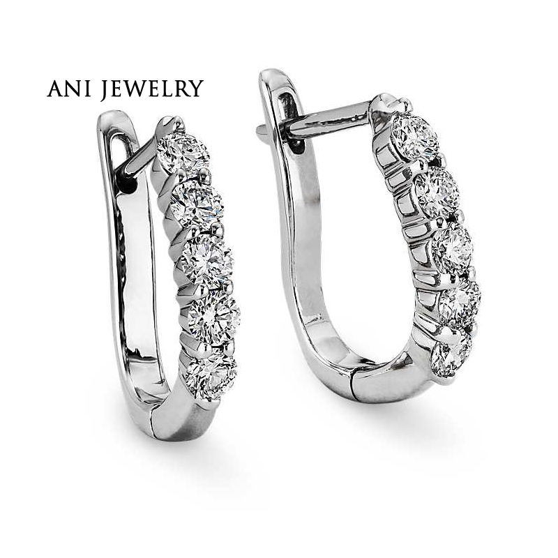 ANI 18k White Gold Women Circle Earrings 0.7 CT Certified I/S1 Natural Diamond Brand Jewelry Circle Earring Customized for Women цена 2017