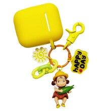 купить Cartoon Hayao Miyazaki My Neighbor Totoro Mei Doll Figure Keychain Wireless Bluetooth Earphone Case for Airpods Protective Cover онлайн